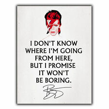 METAL SIGN WALL PLAQUE DAVID BOWIE QUOTE I don't know where I'm going from here