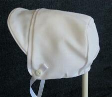 New Handmade White Linen Baby Boy Bonnet