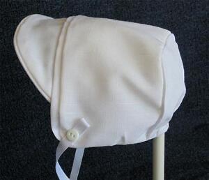 New Handmade White Linen Baby Boy Bonnet