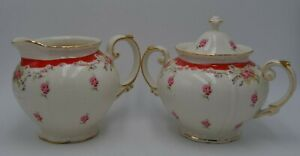 Grace Teawear Creamer and Lidded Sugar Bowl Red and White Floral