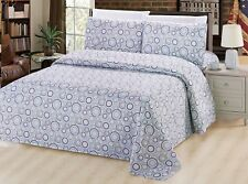 Bamboo 3 Piece Duvet Cover Set, Multi Circles, Blue, Green and White, Queen Size