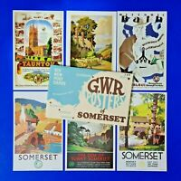 Set of 6 Dalkeith Postcards GWR Great Western Railway Posters of Somerset
