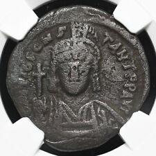Tiberius II Constantine. AD 578-582. Æ Half Follis, Constantinople, NGC Ch F