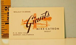 Vintage San Francisco Giants Baseball Talent Scout Business Card