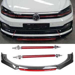 For VW Golf Passat Polo GTI Carbon Front Bumper Lip Splitter Spoiler +Strut Rods