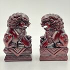 VINTAGE Hand Carved WOOD Foo Dog Statues BOOKEND PAIR One Block Of Wood