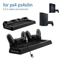 Multi-functional Vertical Stand Cooling Fan & Charger For Sony PS4 & PS4 Slim