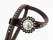 DARK OIL 1 ONE EAR WESTERN HORSE TRAIL SILVER SHOW LEATHER HEADSTALL BRIDLE TACK