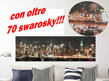 Quadro quadri moderno arredo testata letto skyline NEW YORK 90x30 con SWAROSKY