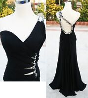 NWT FAVIANA 6902 BLACK $378 Prom Formal Evening Gown 8