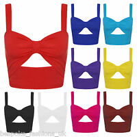 Ladies Womens Sexy Bra let Tie Knot Detail Cut Out Sleeveless Crop Top 8-14