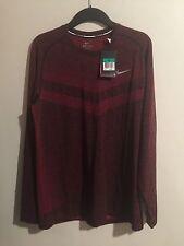 NEW Nike Dri-Fit Knit Short Sleeve Running Shirt Red Black  642124-657 Xl