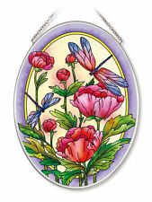 """Peonies Dragonfly Sun Catcher AMIA Hand Painted Glass 7"""" x 5"""" Peony Dragonflies"""