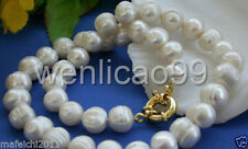 "Natural 10-11mm White Akoya Cultured Pearl Necklace 18"" AAA"
