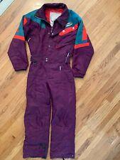 Vtg Spyder Men's Ski Suit Snowsuit One Piece Black Purple Green Zip Snap Medium