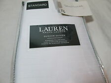 New RALPH LAUREN Dunham Sateen 2 Standard Pillowcases  ~ White Striped ~  300 TC