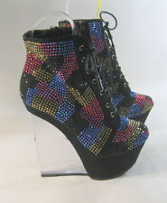 """Black Rhinestones 6"""" High Heel 2"""" Platform Lace Up Ankle Sexy Boot Size 7"""