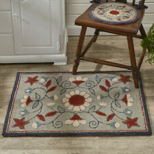 Primitive Country **GRAY FLORAL** Folk Art Wool Hooked Rug By Park Designs New
