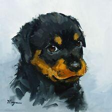 Pintura al óleo originales-Retrato de un perro Rottweiler-por J Payne