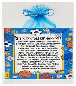 Grandson's Bag of Happiness  - Unique Sentimental Novelty Keepsake Gift & Card