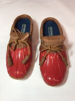 Sperry top slider womens red rubber water mud boots waterproof size 7 Med eb4