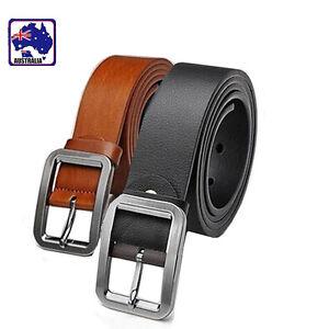 2xMen Belt Artificial Leather Brown Black Waistband Metal Buckle CBELT29