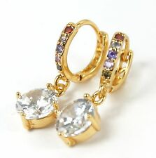 Women's 18 carat Gold Plated Clear and multi colour Crystal drop Huggie Earrings