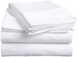 UK Single 4 PC Bed Sheet Set Soft Egyptian Cotton 1000 Thread Count White Solid