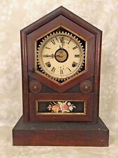 Ant Jerome & Co Wood Steeple Clock w/ Reverse Painted Glass Tablet Runs
