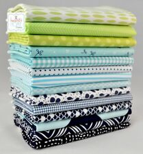 Designer Fabric Fat Eighths Bundle, Navy/Aqua/Lime Green, 14 pieces, 1 3/4 yards