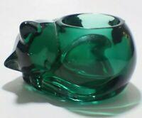 VTG Deep Green Glass Sleeping Cat Votive Candle Holder Green Heavy Paperweight