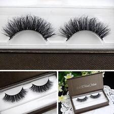 LASGOOS 100% Real Mink Fur 3D False Eyelashes Messy Natural Cross Lashes Makeup