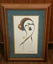 "Garnet Tobacco Art 1996 ""Gathering Spirits"" Framed Orig Acrylic on paper"