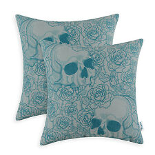 2Pcs Cushion Covers Pillow Cases Vintage Roses Skull Print 45 x 45 Gray Teal