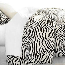 SATIN QUILT COVER Queen Size Duvet Doona Bed Set Zebra Animal Print Silky Smooth