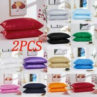 2pcs 15Color Solid Silk Pillowcase Cover Standard Size Satin Bedding Pillow case