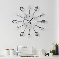 Silver Kitchen Cutlery Wall Clock Spoon and Forks Home Decoration Creative