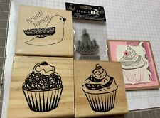 Lot Of 4 Rubber Stamps Cling And Wood Mounted new and used (a2)