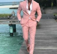 Men Pink Slim Fit Suit Notch Lapel Groom Tuxedo Formal Wedding Party Suit Custom