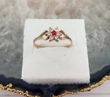 14k (585)Solid Russian Rose Gold Ruby Flower Ring with CZ Accents - Size 8.25