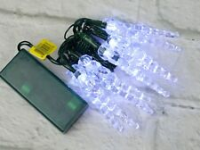 Battery Op Christmas Icicle Twinkle Lights String Ultra LED 10 White 3.5' C48-35