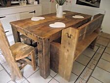 DINING TABLE AND SEATING RUSTIC HANDMADE SOLID WOODEN FARMHOUSE CHUNKY ANY SIZE