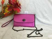 NWT. Coach Metallic Crossgrain Leather Chain Wristlet Clutch Cross-body F22828
