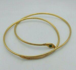 Rolled gold Art Deco large snake necklace choker green Egyptian revival Baden