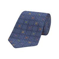 Turnbull & Asser Navy/Multi Geometric Floral Silk Neck Tie TZ379 O/S $195 NEW