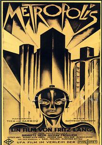 Vintage Poster Print canvas film art deco metropolis A1 A2 A3