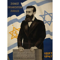 Zionism Theodor Herzl Star David Flag Palestine Poster Art Print