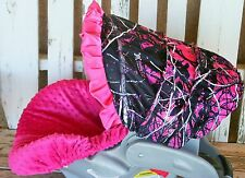 muddy girl camo and hot pink minky Infant Car Seat Cover & Hood Cover w/ ruffle