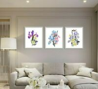 Botanical Watercolour Flower Prints Set of 3 Wall Art, Purple Blue Iris Daffodil