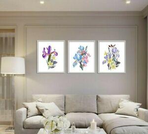 Botanical Watercolour Flower Prints Set of 3 Wall Art, Purple Blue Iris Daffodil